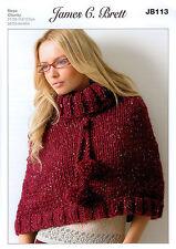 Ladies Poncho JB113 Knitting Pattern James C Brett Rustic Mega Chunky