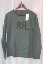 RRL Mens Long Sleeved Graphic Logo Tshirt  Medium Green NWT Ralph Lauren