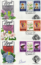 MAYREAU 1982 BIRTH OF PRINCE WILLIAM SET 3 TAB GUTTER PAIRS 3 FIRST DAY COVERS