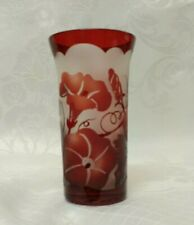 Cameo glass vase with ruby red etching