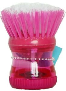PINK Soap Dispensing Washing Up Scrubber Brush Dishes Cleaning Scouring Pad
