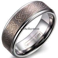 8mm Mens Tungsten Carbide Ring Laser Celtic Knot Polish Edge Wedding Band 8-12