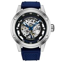 Stuhrling Original 989 04 Automatic Skeleton Blue Rubber Strap Mens Watch