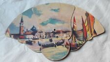 Antique Advertising Hand Fan Venice Landscape