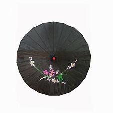 "Vintage Oriental Folding Black Wedding Party Nylon Bamboo Umbrella Parasol 15"""