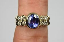 Women's Luxury Diamond & Tanzanite Cocktail Ring 14k Solid Yellow Gold 1.90 tcw