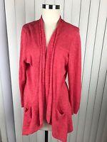 Eileen Fisher Women's Linen Cotton Blend Long Open Front Cardigan Sweater Large