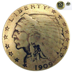 """🕐LOT OF 6 PCS INDIAN HEAD GOLD $2.50 COIN REPRODUCTION CONCHO 3/4""""  9235 A GRTP"""