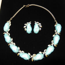 B.S.K. - Silver Tone & Light Pearl Blue Thermoset Necklace & Clip Earring Set