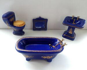 1/12 Dolls House Furniture Miniature Blue Gold Bathroom Set Bath Sink etc BN LGW