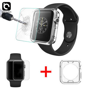 Apple Watch Series 6/5/SE Tempered Glass Screen Protector+Clear TPU Case 40/44mm