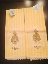 BRAND NEW FRENCH STYLE YELLOW STRIPE HAND TOWEL SET