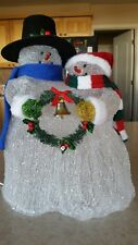 "Vintage Lighted Carolers: Snowman & Snow Woman With The Look Of Glass ~ 12"" High"
