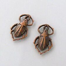 2 Antique Copper - Brass Scarab Beetle Connectors 10x17mm