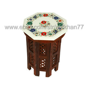 Small Coffee Table White Marble Inlay Side Table Pietra Dura Gemstone Art