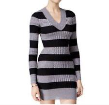 Planet Gold Ribbed Tunic Sweater Dress V-Neck Long Sleeve Black & Grey Size M
