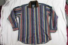 Woolrich Striped USA Made Wool Shirt Sz Large Bright Colors Faux Leather Collar