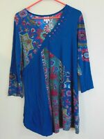 Parsley & Sage Tunic Blouse Top Size Large Blue + Green INDIA Pullover Stretch