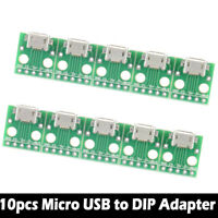 10pc femmina Micro USB a DIP adattatore convertitore 2,54 mm PCB Breakout TE1028