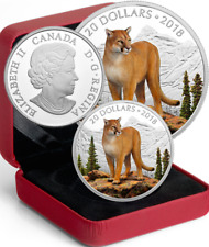 2018 Courageous Cougar $20 1OZ Pure Silver Proof Coin Canada: Majestic Wildlife