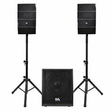 """Powered Line Array Speaker System - 12"""" Active Subwoofer and 8 Column Speakers"""