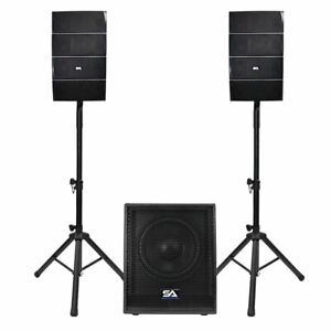 "Powered Line Array Speaker System - 12"" Active Subwoofer and 8 Column Speakers"