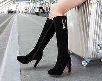 Womens Fashion Zip Platform High Heel Knee High Boots Shoes UK Size 1--8 B464