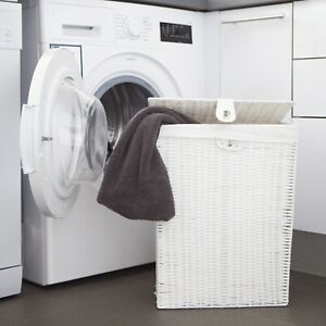 Laundry Basket Medium White Resin Box With lid-Lock