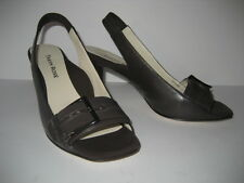 NEW $425 Taryn Rose Brown Leather and Microfiber Slingback Heels Shoes 6.5  36.5