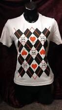 NUOVO Bianco T-shirt/top/Teschi Cuori Rossi/Diamanti Neri Harley Quinn/REGINA/Alice M