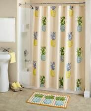 Tropical Paradise Pineapple Shower Curtain & Bath Novelty Fruit Beach Bath Decor