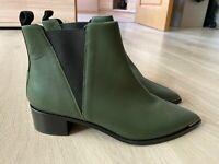 Acne Studios Jensen Hunter Green Leather Boots Shoes Women's Size - EU 39 / UK 6