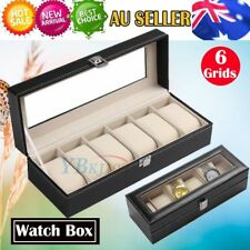 6 Grids Leather Watch Display Jewelry Case Collection Storage Box Holder Gift AU