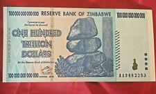 ZIMBABWE 100 TRILLION DOLLARS BANKNOTE UNC  AA SERIES  NOTE REAL