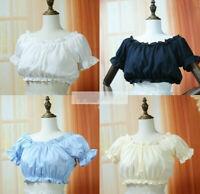 Girls Puff Sleeve Blouse Shirt Chiffon Bottoming Top Lolita Shirts One size