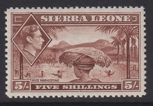 SIERRA LEONE  1938: MVLH 5/- red-brown KGVI defin. SG 198 cv £10 · 2 images