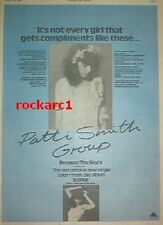 "PATTI SMITH Because The night (blue) 1978 UK Poster size Press ADVERT 16x12"""
