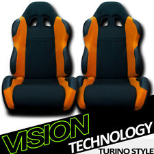 2X TS Sport Blk/Orange Cloth Fabric Reclinable Racing Bucket Seats w/Sliders V12