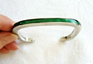 Artisan Enameled Trendy Square Cuff Bracelet Sterling Silver 34.5 Grams