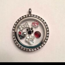 DOG LOVER S/STEEL FLOATING SILVER LOCKET RHINESTONE NECKLACE & CHARMS AU SELLER