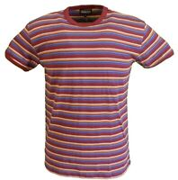 Mens Burgundy 60s 70s Retro Mod Striped T Shirt …
