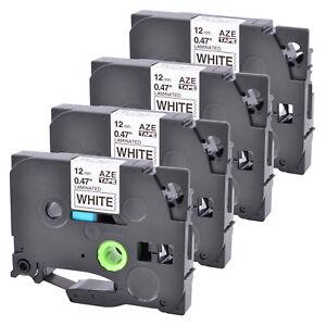 4PK Compatible Brother TZ231 TZe231 Black Print on White Label Tape Cassette