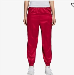 NWT Adidas Women Originals LEOFLAGE Tracking Pants Red with Black Strips Size M