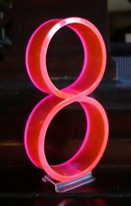 "Vintage Mid Century 1950's Retro Neon Orange Pink Fiber Optic Number 8 Eight 7"""