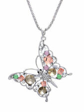 Crystal Rhinestone Butterfly Pendant Chain Necklace Silver Tone Fashion Jewelry