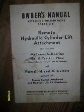 Old IH International Harvester Remote Hydraulic Cylinder Lift Farmall H M Manual