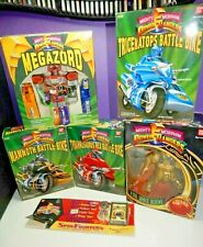 Mighty Morphin Power Rangers MMPR lot +boxes USED Red Blue Yellow bikes Megazord