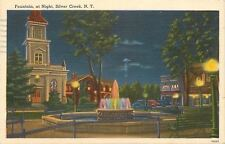 Silver Creek New York~Colorful Fountain At Night~Shops~1950s Linen Postcard