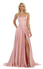NEW SIMPLE SPECIAL OCCASION FORMAL PROM DRESS RED CARPET HIGH SLIT EVENING GOWNS
