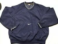 Vintage 90s NIKE Men's L Large Navy blue Nylon Pullover Jacket Coat Swoosh